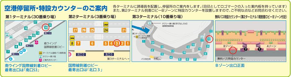 narita成田空港バス乗り場マップ