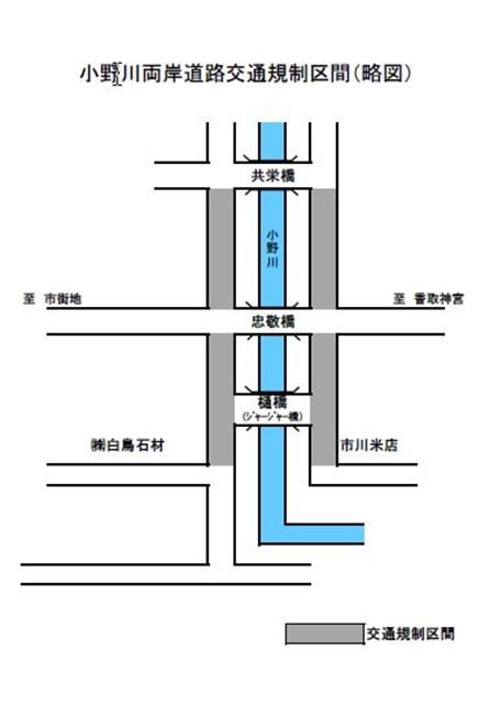 小野川両岸歩行者天国道路交通規制区間